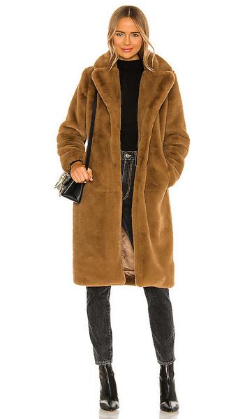 Apparis Siena Faux Fur Coat in Brown in camel