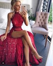 dress,lace dress,red dress,prom dress,long dress,high neck