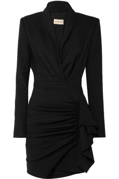 Alexandre Vauthier - Ruched Wool-blend Twill Mini Dress - Black