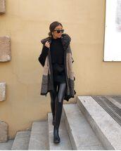 pants,black leggings,black boots,ankle boots,black sweater,cardigan