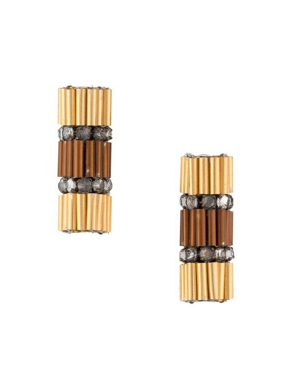 A.N.G.E.L.O. Vintage Cult 1970s embellished bar earrings in gold