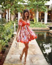 dress,mini dress,floral dress,short sleeve dress,sandal heels,white bag,summer dress