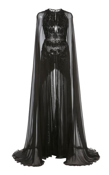 Zuhair Murad Embellished Cape-Sleeve Silk-Chiffon Gown in black