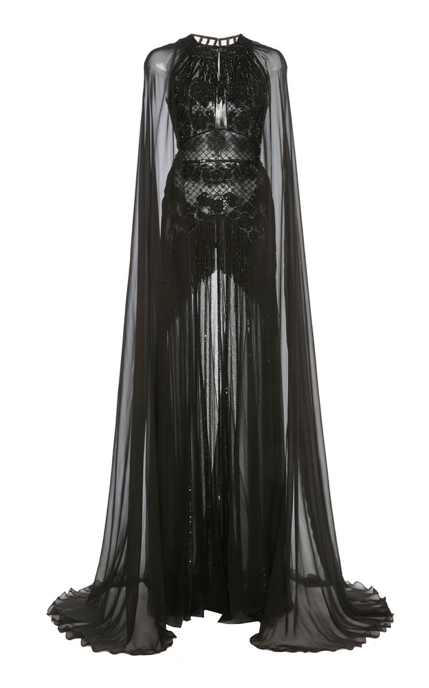 Zuhair Murad Embellished Cape-Sleeve Silk-Chiffon Gown in black