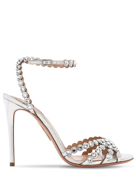 AQUAZZURA 105mm Tequila Laminated Leather Sandals in silver