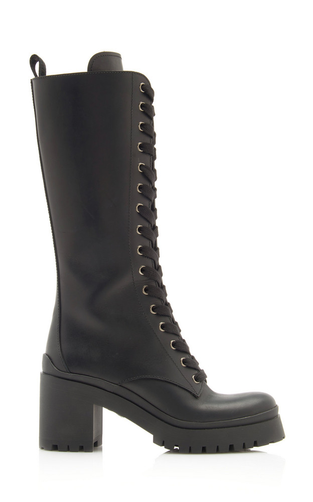 Miu Miu Lace-Up Leather Knee-Length Combat Boots in black