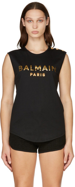 Balmain Black & Gold Three-Button Logo Tank Top in noir
