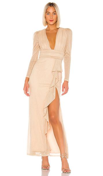 MAJORELLE Gladstone Maxi Dress in Metallic Gold