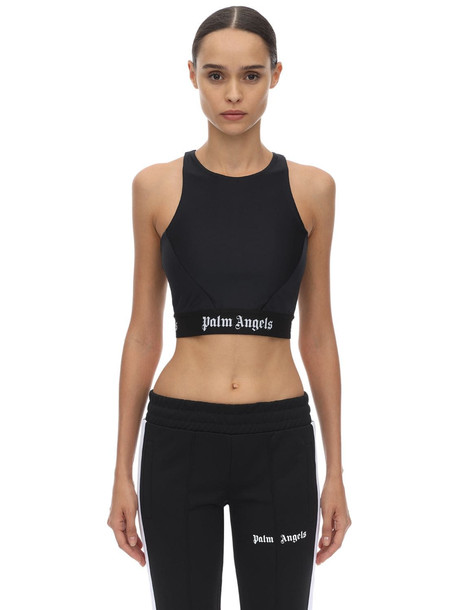 PALM ANGELS Cropped Techno Top in black