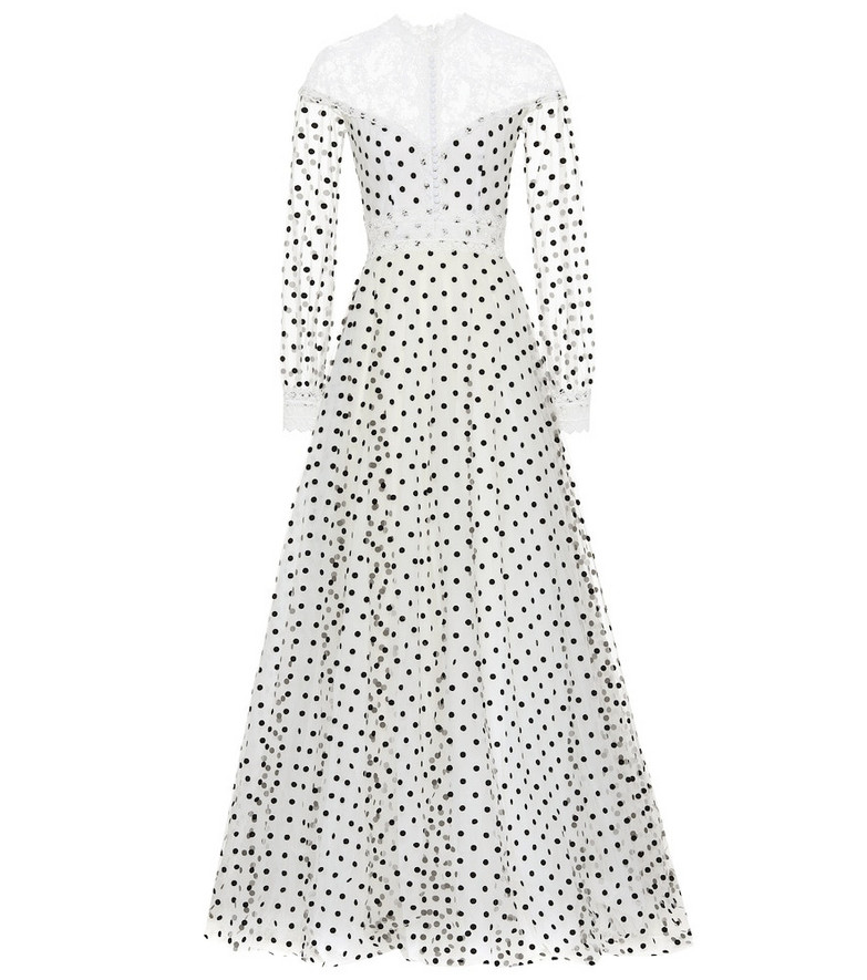Costarellos Dotted tulle gown in white