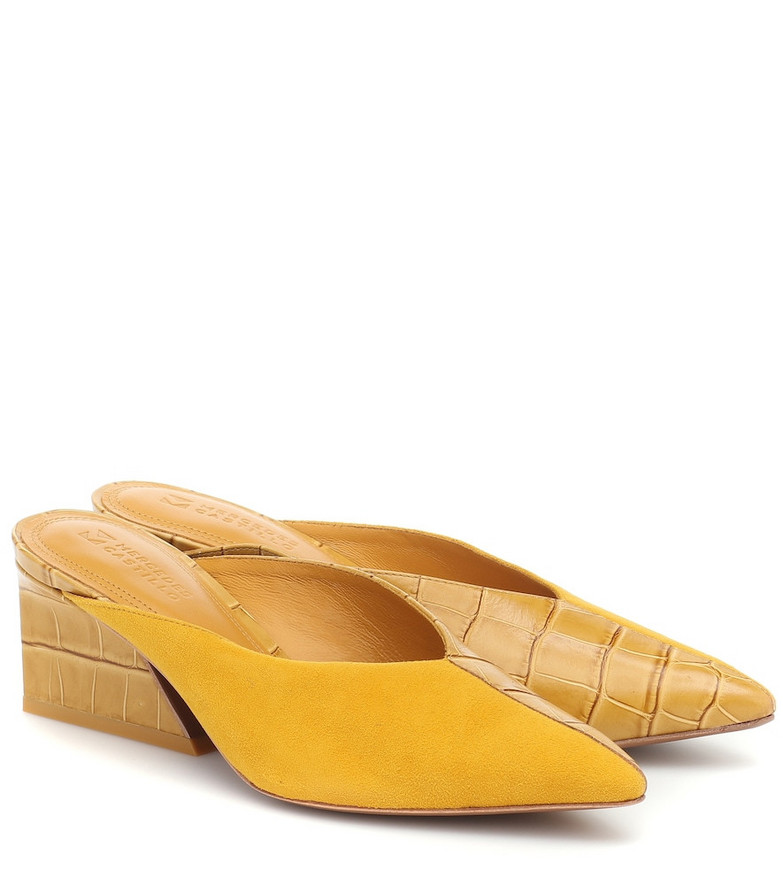 Mercedes Castillo Tayten croc-effect leather and suede mules in yellow