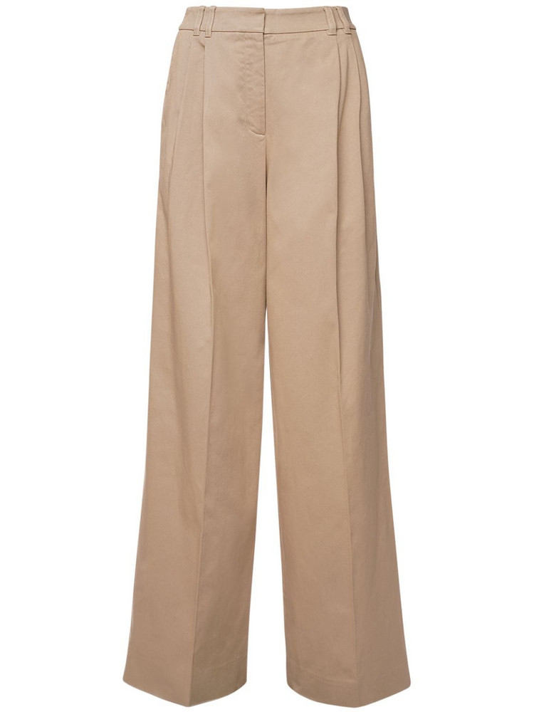 AGNONA High Waist Stretch Cotton Pants in beige