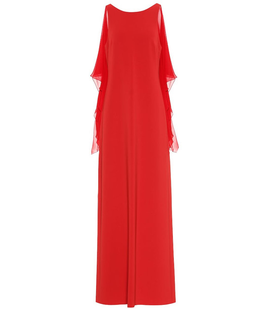 Max Mara Dovere georgette and cady gown in red