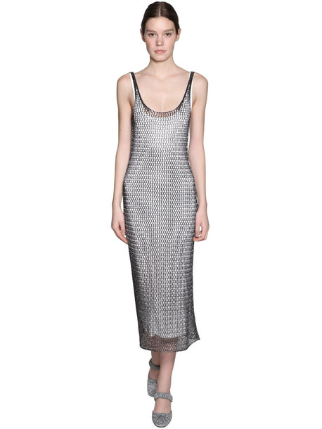 ALEXA CHUNG Knit Midi Dress W/ Jersey Lining in grey