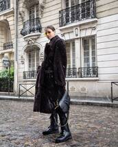 shoes,black boots,lace up boots,ankle boots,dior,black bag,dior bag,teddy bear coat,oversized coat,black pants,skinny pants