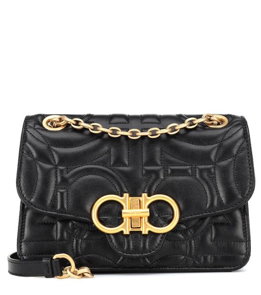 Salvatore Ferragamo Gancini quilted leather shoulder bag in black