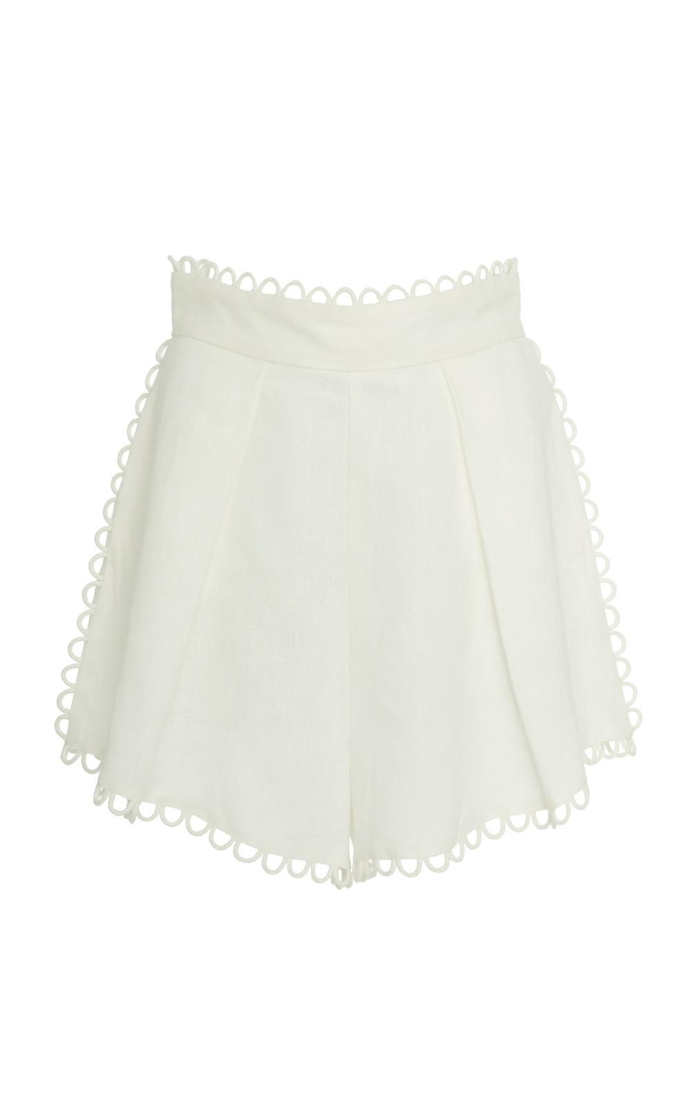 Zimmermann Allia High-Waisted Linen Shorts in white