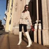 sweater,knitted cardigan,acne studios,knee high boots,white boots,heel boots,black skinny jeans,handbag,belt,sunglasses