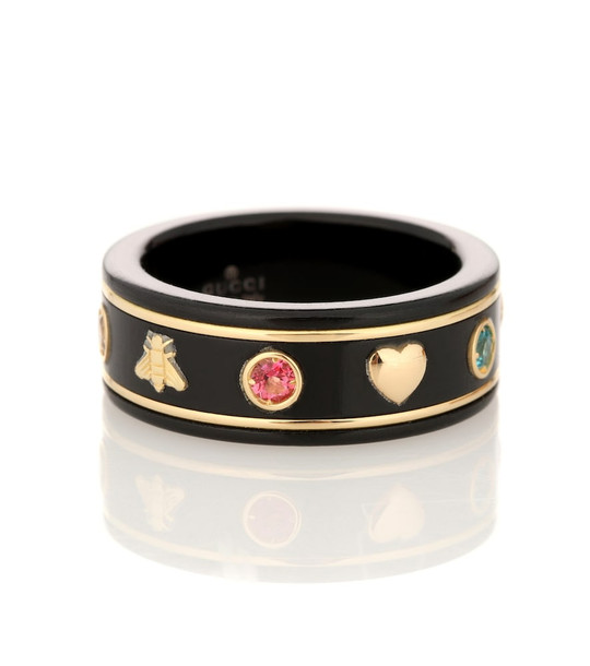 Gucci Icon 18kt gold ring with gemstones in black