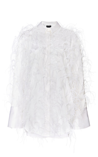 Michael Lo Sordo Feathered Silk-Satin Top Size: 4 in white
