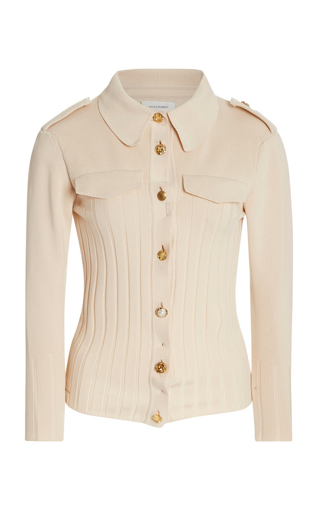 Wales Bonner Goto Safari Knit Shirt in white