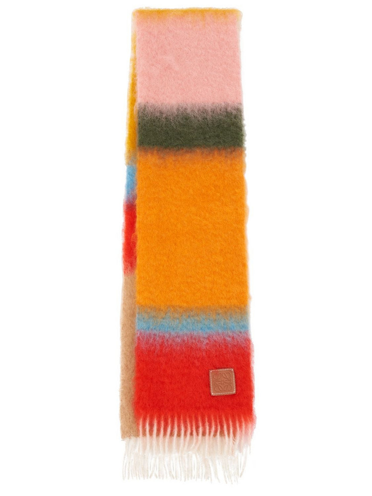 LOEWE Striped Mohair Blend Fringed Scarf in orange / pink