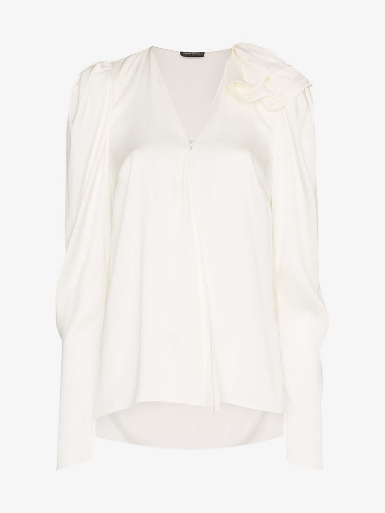 Magda Butrym Sapporo V-Neck Silk Blouse in white