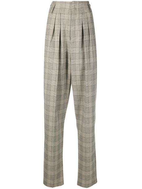 Isabel Marant high-rise check-pattern trousers in neutrals