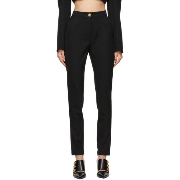 Balmain Black Virgin Wool Leggings in noir