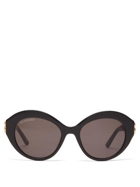 Balenciaga - Dynasty Oval Acetate Sunglasses - Womens - Black