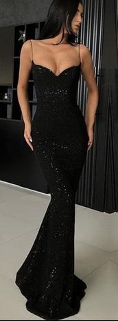 dress,spaghetti strap,bodycon dress,black dress,black,sequin dress,sequins,mermaid,formal dress,formal,prom,prom dress,long dress,long prom dress