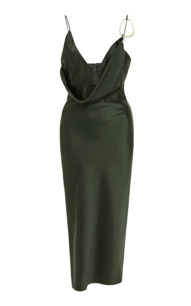 Cushnie Emilia Silk-Satin Midi Dress Size: 2 in green