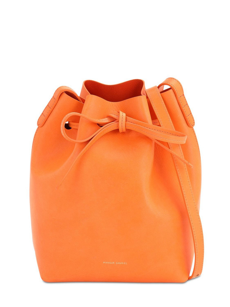 MANSUR GAVRIEL Mini Vegetable Tanned Leather Bucket Bag in orange