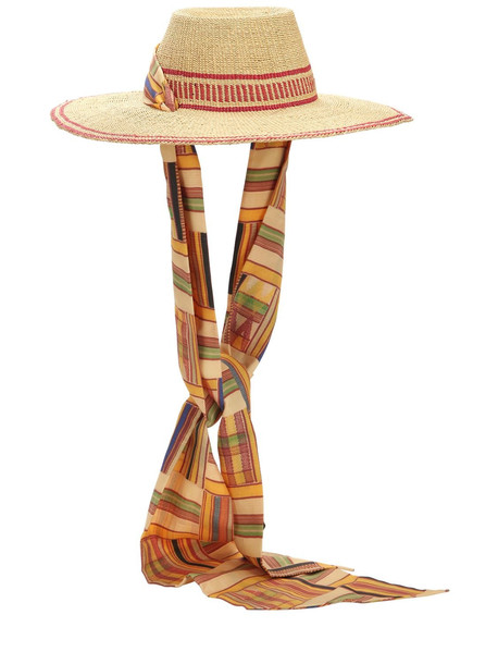 MARGHERITA X CAMBIAGHI X OAFRICA Oafrica Brimmed Straw Hat W/ Long Scarf in beige / red / beige