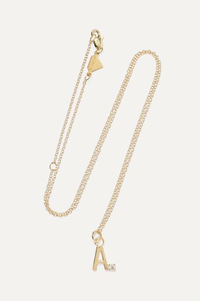 Alison Lou - Letter 14-karat Gold Diamond Necklace