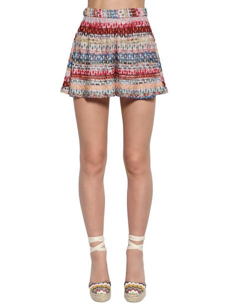 MISSONI High Waist Viscose Knit Lamé Shorts