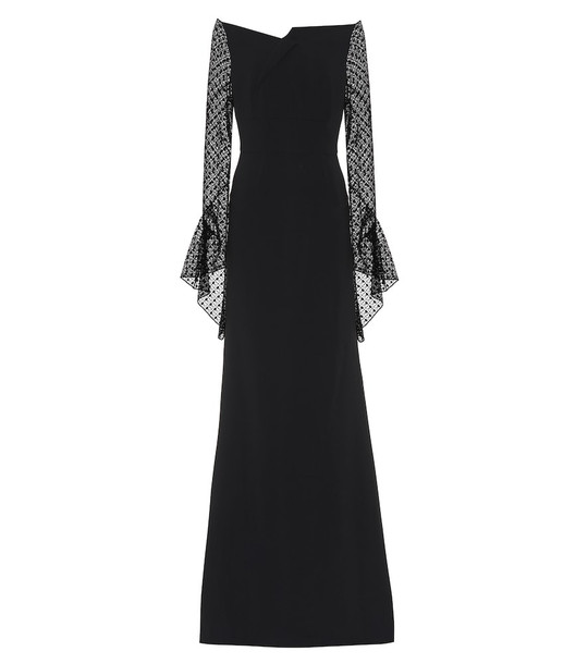 Roland Mouret Hafren crêpe and lace gown in black