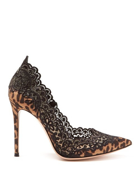 Gianvito Rossi - Leopard Print Satin And Lace 105 Pumps - Womens - Leopard