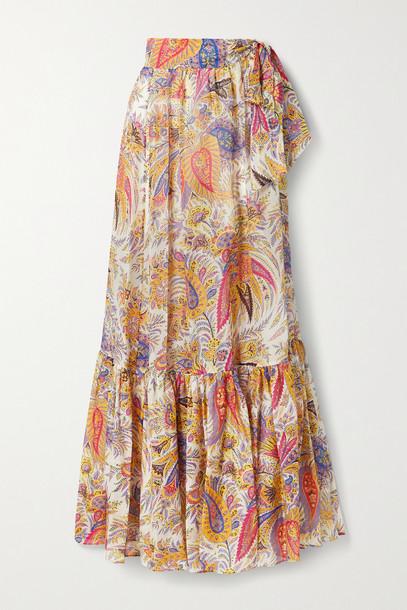 ETRO - Zante Paisley-print Cotton And Silk-blend Chiffon Maxi Skirt - White