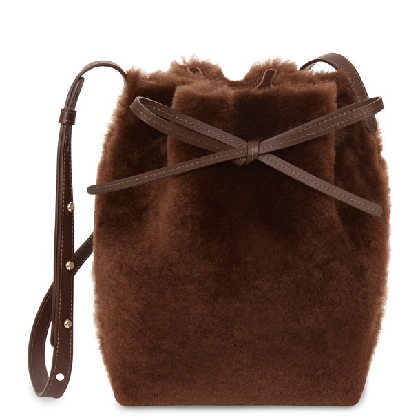 Mansur Gavriel Shearling Mini Bucket Bag - Dark Brown