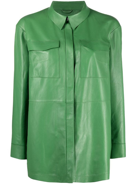 Desa 1972 concealed fastening leather shirt in green