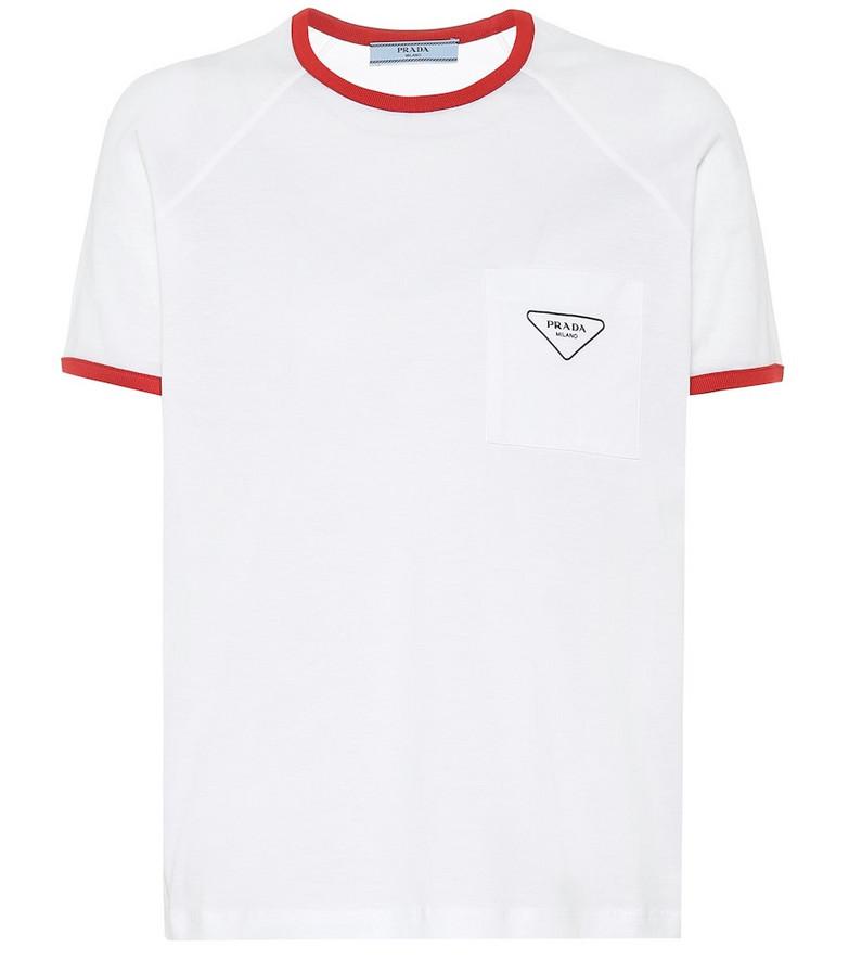 Prada Raglan cotton-jersey T-shirt in white