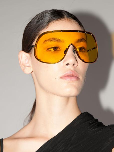 RICK OWENS Shield Stainless Steel Sunglasses in orange