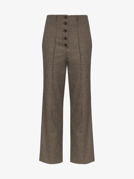 Nanushka houndstooth tweed trousers in brown