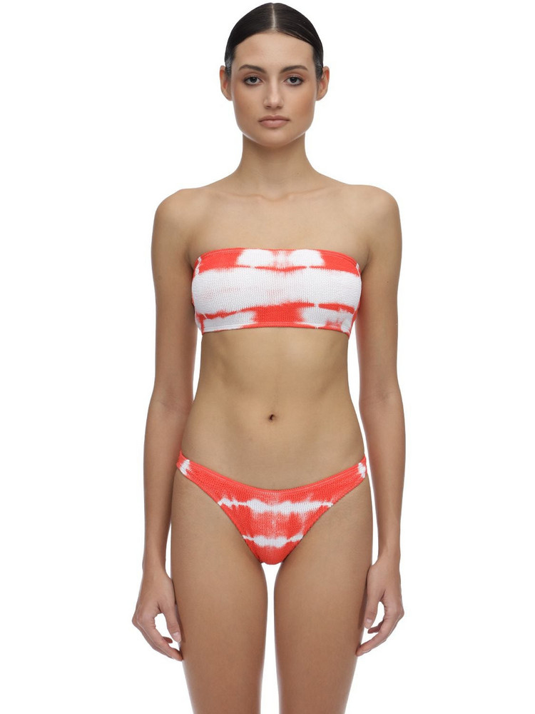 BOND EYE Sierra Tie Dyed Seersucker Bikini Top in orange / white