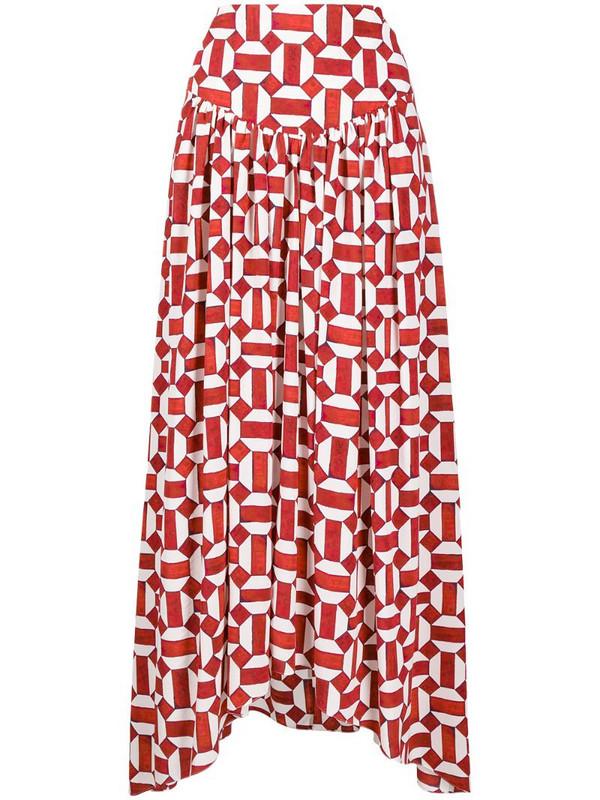 Isabel Marant Ginkao geometric print skirt in red