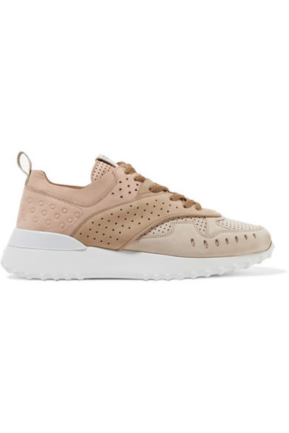 Tod's - Perforated Color-block Suede Sneakers - Beige