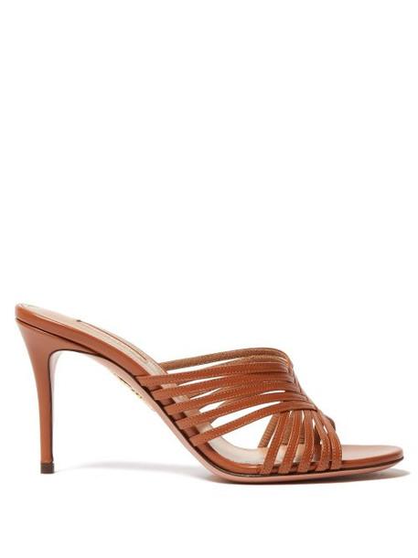 Aquazzura - Hydra Cross Strap Leather Mules - Womens - Tan