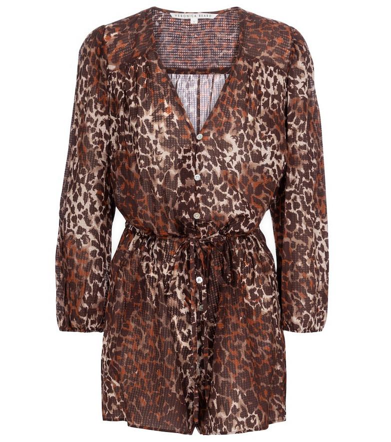 Veronica Beard Coraline leopard-print playsuit in brown
