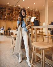 coat,trench coat,white boots,heel boots,white jeans,high waisted jeans,blue sweater,knitted sweater
